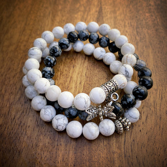 Big Raven Yoga Black-and-White Happy Stack Bracelet