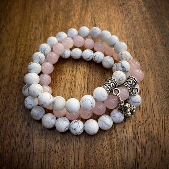 Big Raven Yoga Pink-and-White Happy Stack Bracelet