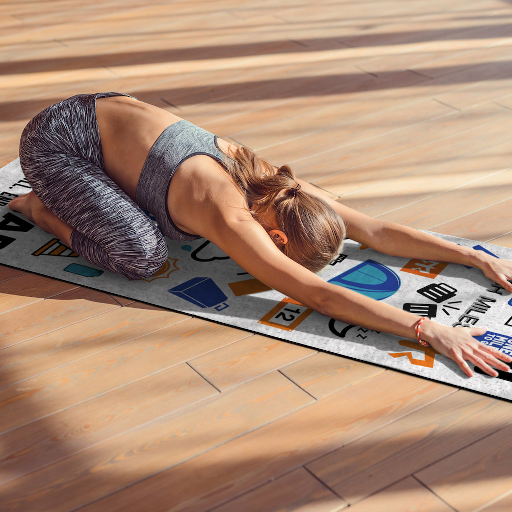 Image of the 'I Can. I Will. End of Story.' yoga mat in use