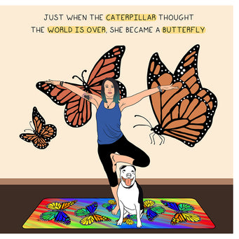 Big Raven Yoga She Became A Butterfly Doodle Card