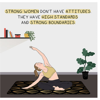Big Raven Yoga Strong Women Doodle Card