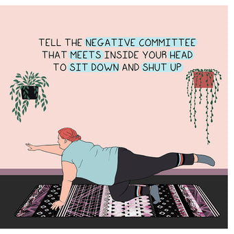 Big Raven Yoga Tell The Negative Committee Doodle Card