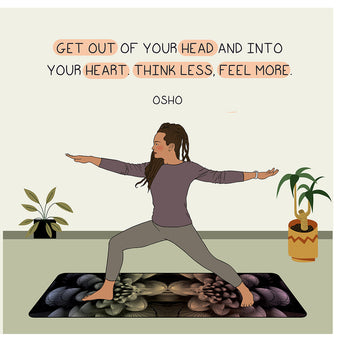 Big Raven Yoga Think Less Feel More Doodle Card