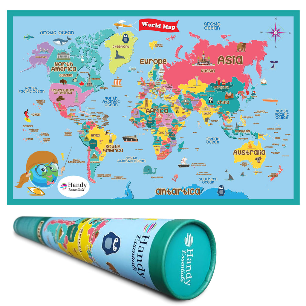 Handy Essentials Kids World Map Dry Erase MapWall Decals X - Kids world map wall decal