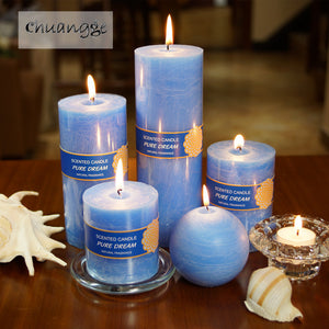 CHUANGGE,Candles Soy Wax, Coconut Oil,Smokeless,Blue Bar Craft Illumination