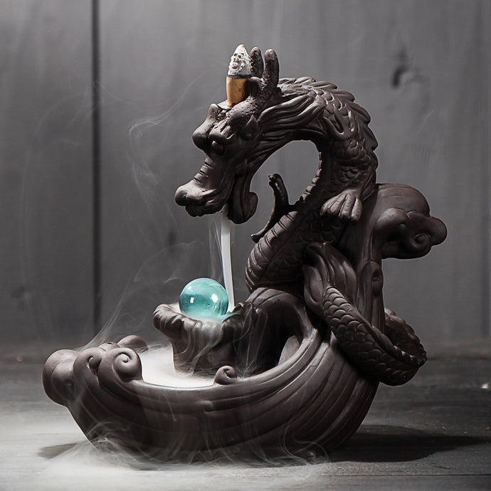 Ceramic Backflow, Creative Dragon Incense Holder Censer With Crystal Ball + 20Pcs Incense Cones