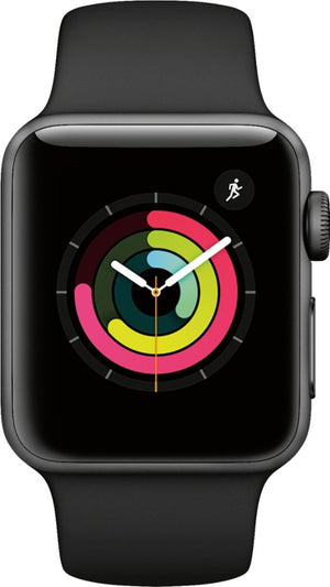 Apple - Apple Watch Series 3 (GPS) 38mm Space Gray Aluminum Case with Black Sport Band - Space Gray Aluminum