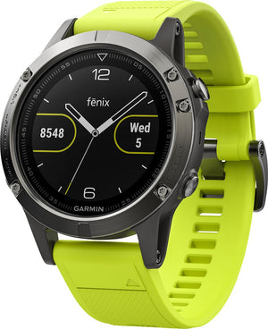 Garmin - fēnix® 5 Smartwatch 47mm Stainless Steel Case - Slate Gray with Amp Yellow Band