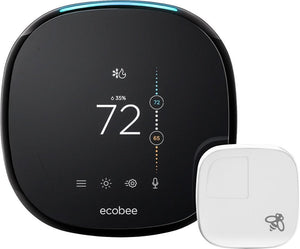 ecobee - ecobee4 Wi-Fi Thermostat with Room Sensor and Built-In Alexa Voice Service - Black