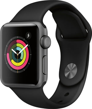Apple - Geek Squad Certified Refurbished Apple Watch Series 3 (GPS) 38mm Space Gray Aluminum Case with Black Sport Band - Space Gray Aluminum