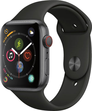 Apple - Apple Watch Series 4 (GPS + Cellular) 44mm Space Gray Aluminum Case with Black Sport Band - Space Gray Aluminum