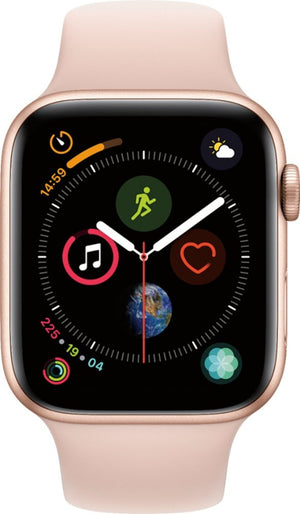 Apple - Apple Watch Series 4 (GPS + Cellular) 44mm Gold Aluminum Case with Pink Sand Sport Band - Gold Aluminum