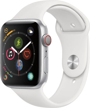 Apple - Apple Watch Series 4 (GPS + Cellular) 44mm Silver Aluminum Case with White Sport Band - Silver Aluminum