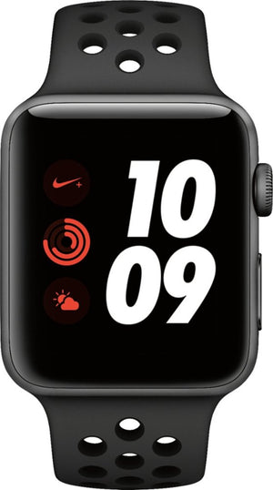Apple - Apple Watch Nike+ Series 3 (GPS + Cellular) 42mm Space Gray Aluminum Case with Anthracite/Black Nike Sport Band - Space Gray Aluminum