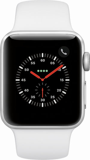 Apple - Apple Watch Series 3 (GPS + Cellular) 38mm Silver Aluminum Case with White Sport Band - Silver Aluminum