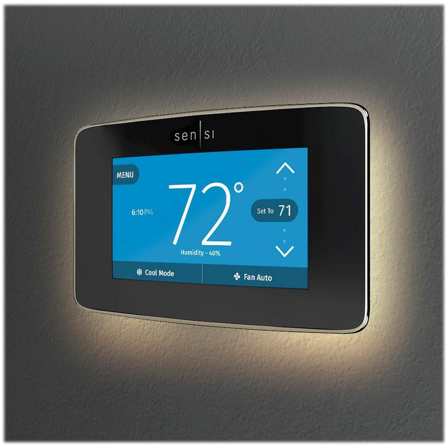 Sensi - Sensi Smart Programmable Touch-Screen Wi-Fi Thermostat - Black
