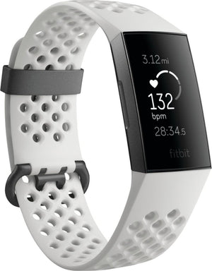 Fitbit - Charge 3 Special Edition Activity Tracker + Heart Rate - White/Graphit