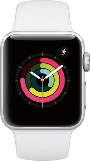 Apple - Geek Squad Certified Refurbished Apple Watch Series 3 (GPS) 38mm Silver Aluminum Case with White Sport Band - Silver Aluminum