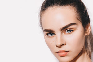 Beautiful skin, beautiful eyebrows, This model is using the DreamBrow product to thicken and promote eyebrow growth