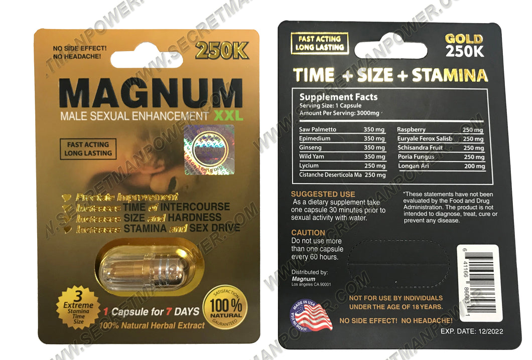 Genuine Magnum XXL 250K Gold Male Enhancement Sexual Performance Enhancer