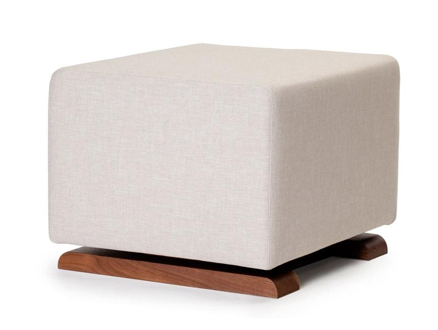Modern Upholstered Como Ottoman - sand body with walnut base shown.