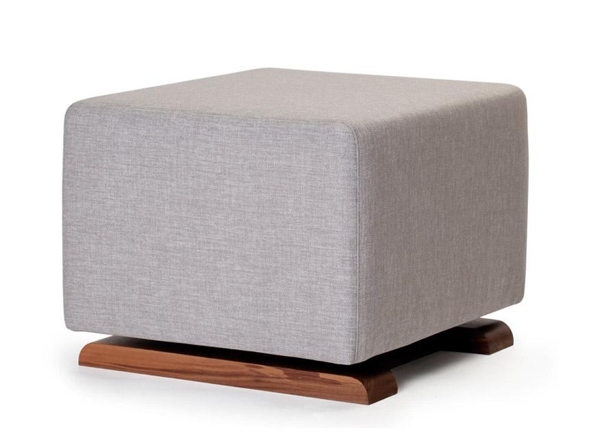 Modern Upholstered Como Ottoman - pebble grey body with walnut base shown.
