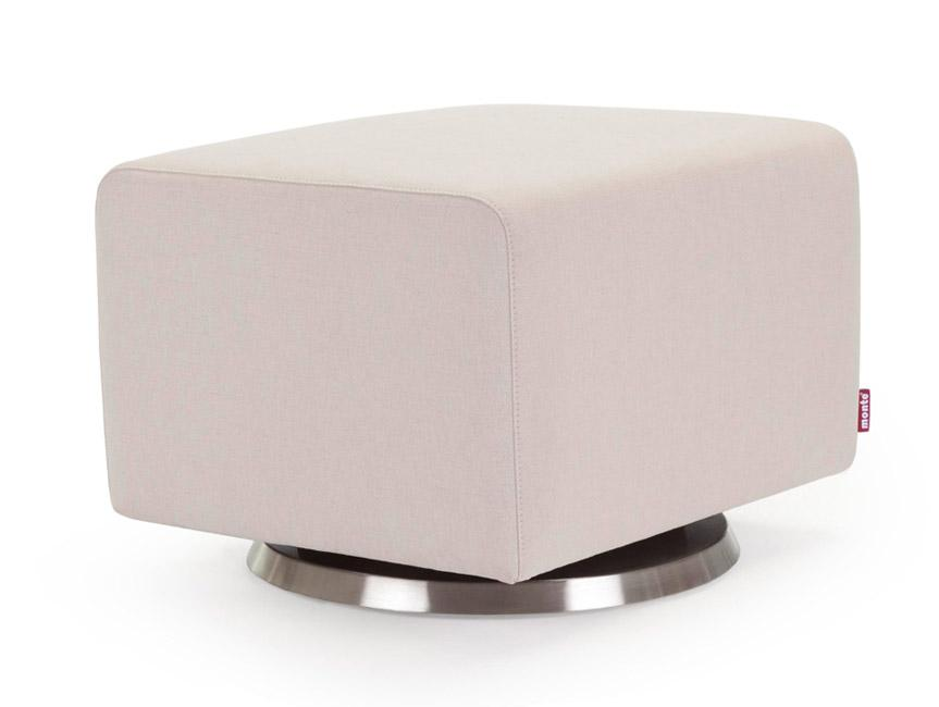 Modern Upholstered Como Ottoman - beach body with stainless steel base shown.
