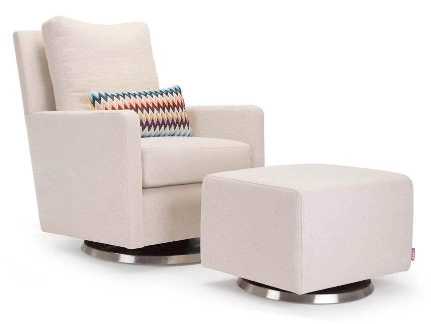 Modern Upholstered Como Glider and Ottoman - beach body with stainless steel base shown.