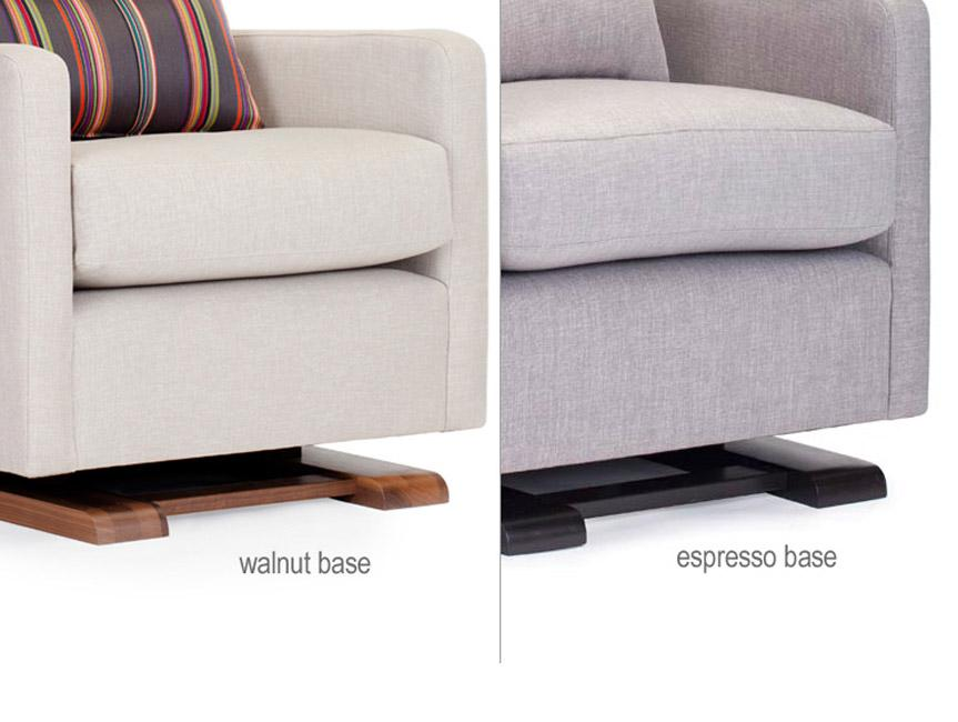 Modern Upholstered Como Glider - sand and pebble grey body with espresso and walnut base shown.