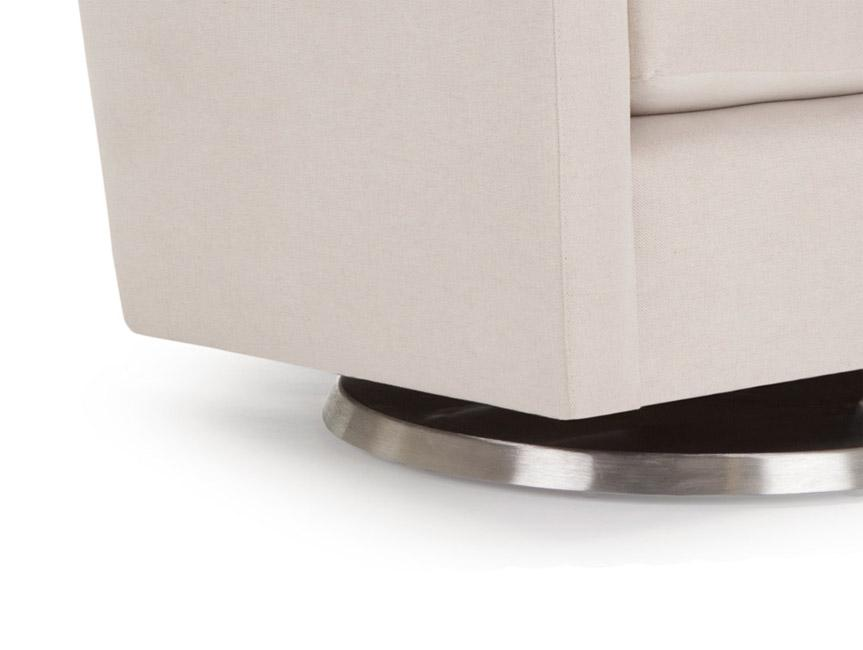 Modern Upholstered Como Glider - stainless steel base shown.