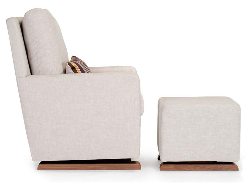 Modern Upholstered Como Glider and Ottoman - sand with Paul Smith pillow and walnut base shown.