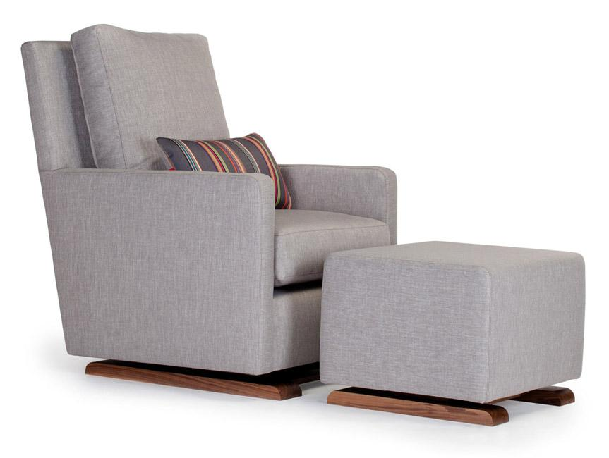 Modern Upholstered Como Glider and Ottoman - pebble grey with Paul Smith pillow and walnut base shown.