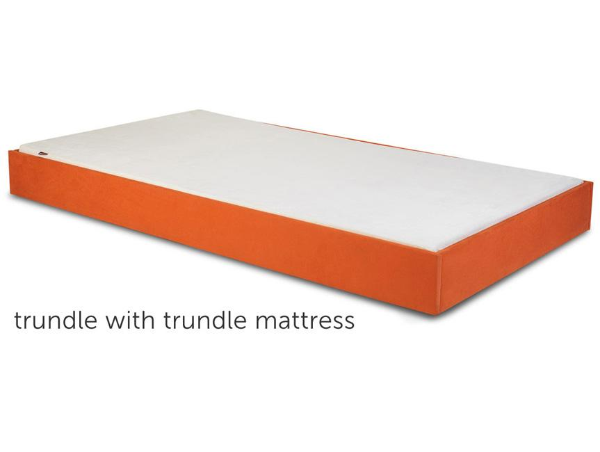 modern dorma twin bed trundle with mattress - orange shown.