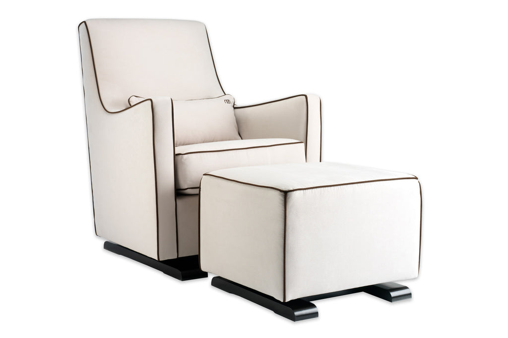 Modern Upholstered Luca Glider - stone with brown piping shown.