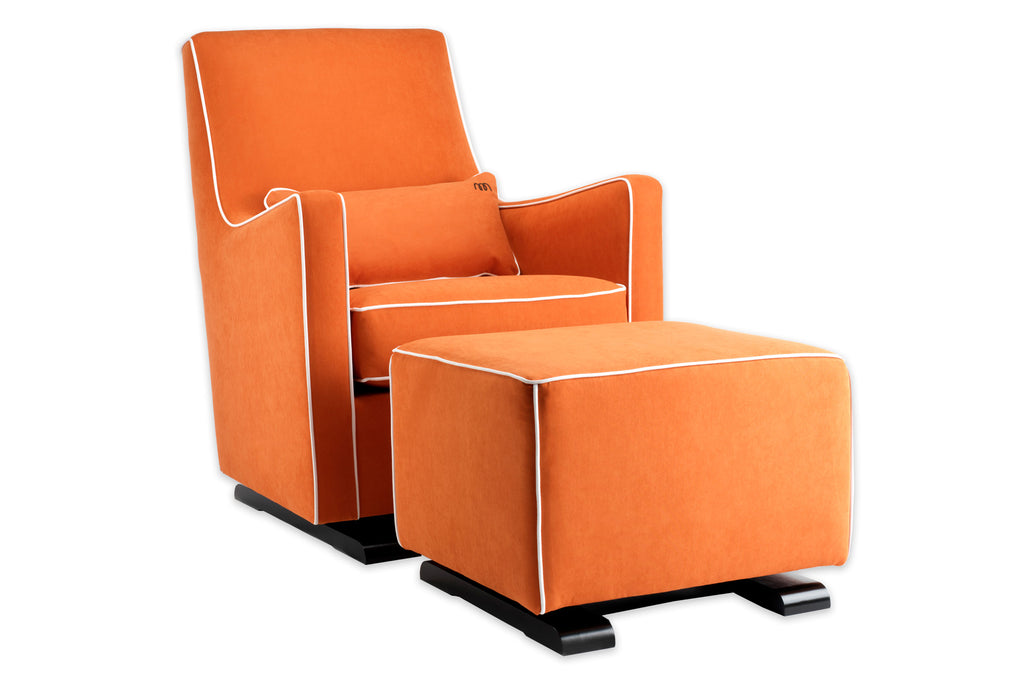 Modern Upholstered Luca Glider - orange with white piping shown.