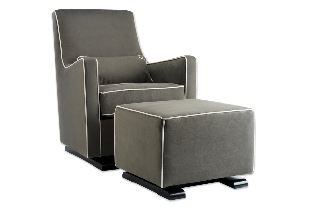 Modern Upholstered Luca Glider - charcoal with white piping shown.