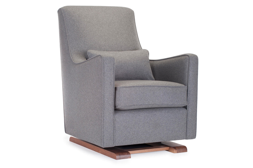 Modern Upholstered Luca Glider - dark grey italian wool shown.