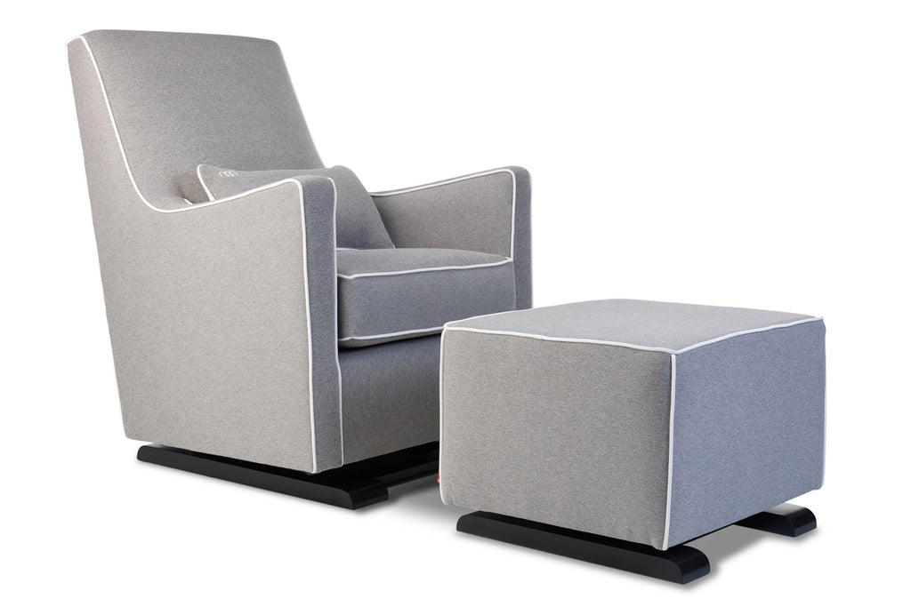 Modern Upholstered Luca Glider - heather grey with white piping shown.