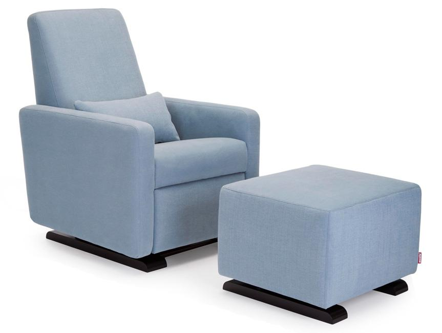 Modern Upholstered Grano Recliner and Ottoman - sky fabric shown.