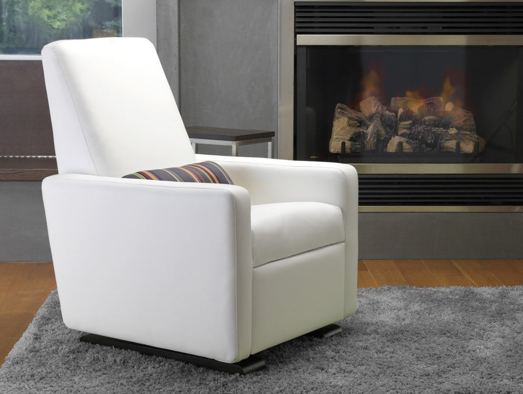 Modern Upholstered Grano Recliner - white enviroleather body shown.