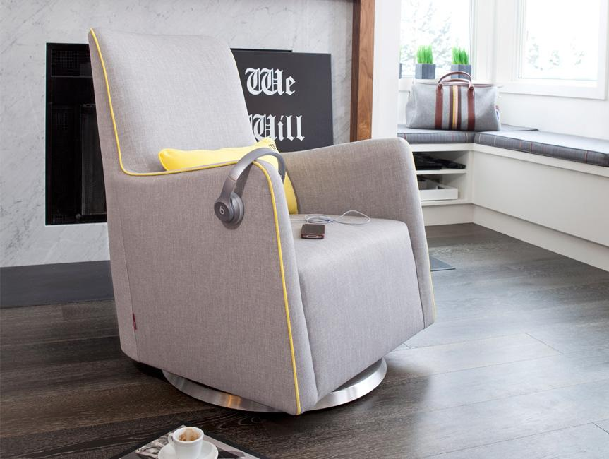 Modern Grazia Glider - pebble grey with yellow piping shown.