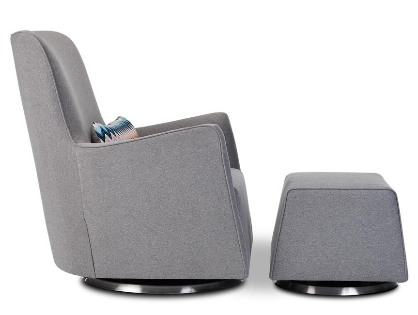 Modern Grazia Glider and Ottoman - heather grey shown.