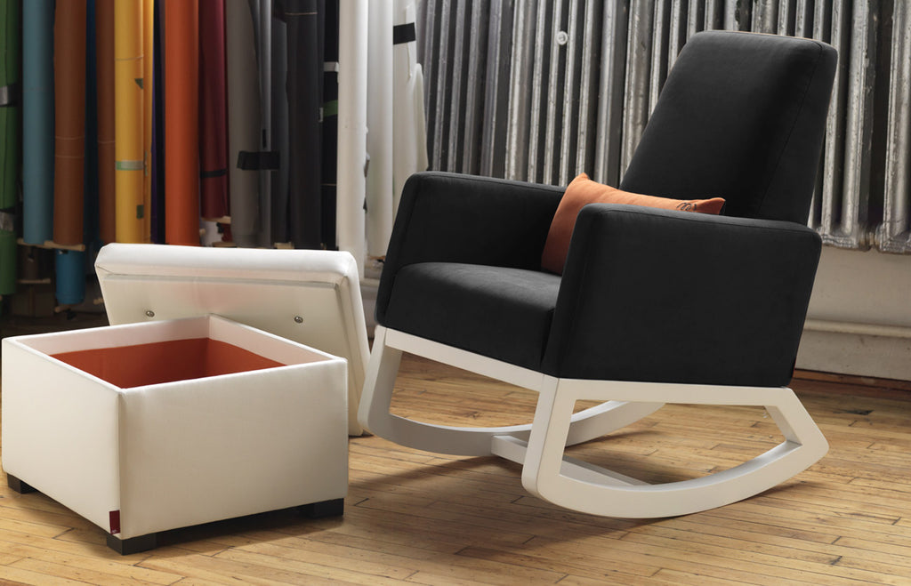 Modern Joya Rocker - black body with white base and storage ottoman.