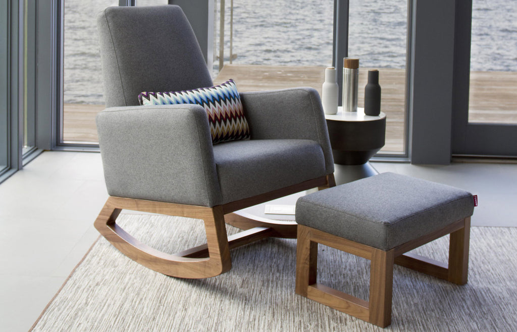 Modern Joya Rocker and Ottoman - dark grey Italian wool and walnut base shown.