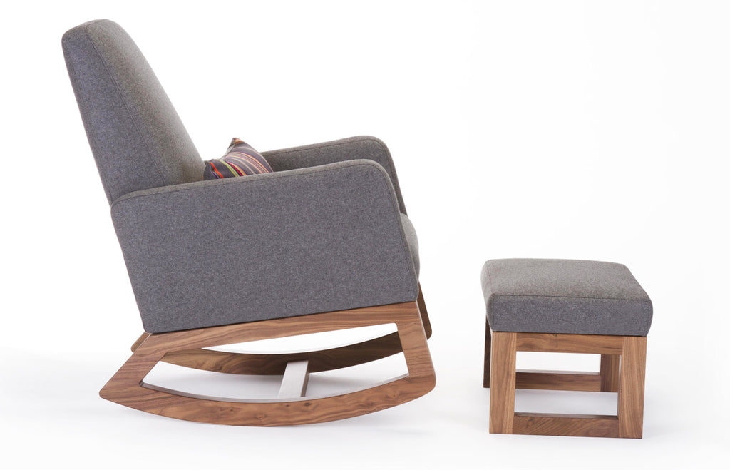 Joya Rocker and Ottoman - dark grey Italian wool and walnut base shown.