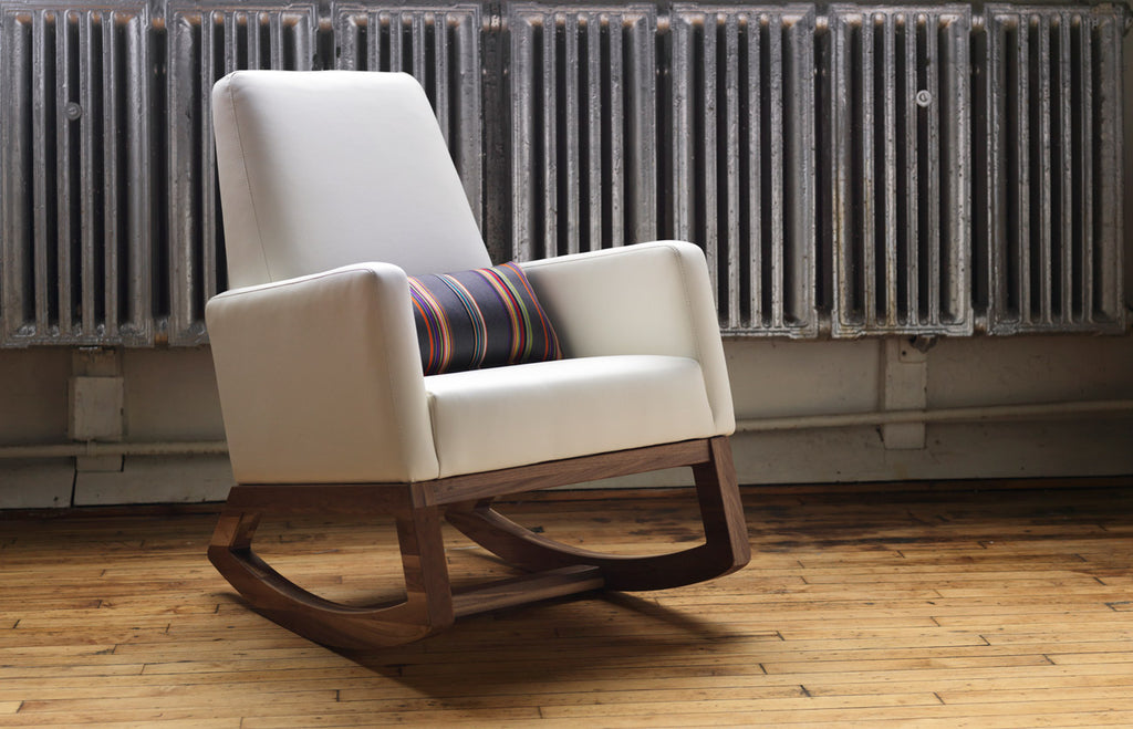 Modern Joya Rocker - white enviroleather body with walnut base shown.