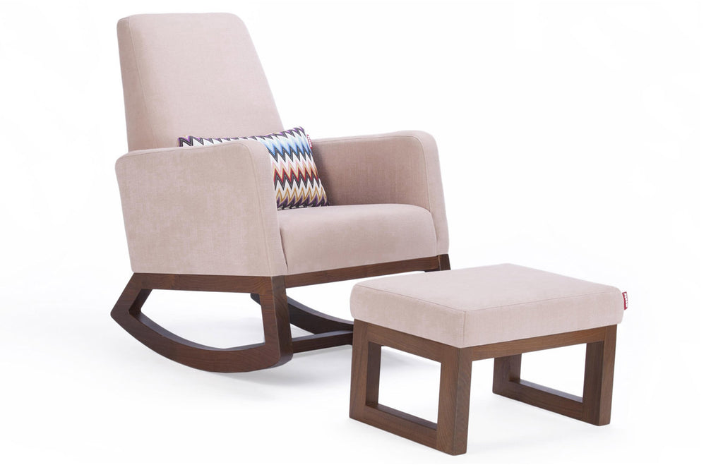 Joya Rocker and Ottoman - Blush Body and Walnut Base shown.