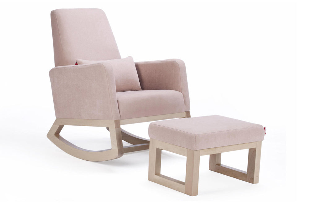 Joya Rocker and Ottoman - Blush Body and Clear Maple Base shown.