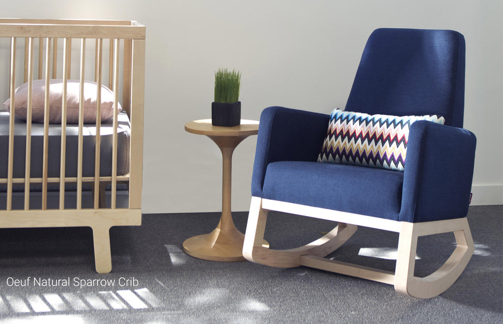 Joya Rocker - Midnight Blue Body and Clear Maple Base with Oeuf Natural Sparrow Crib