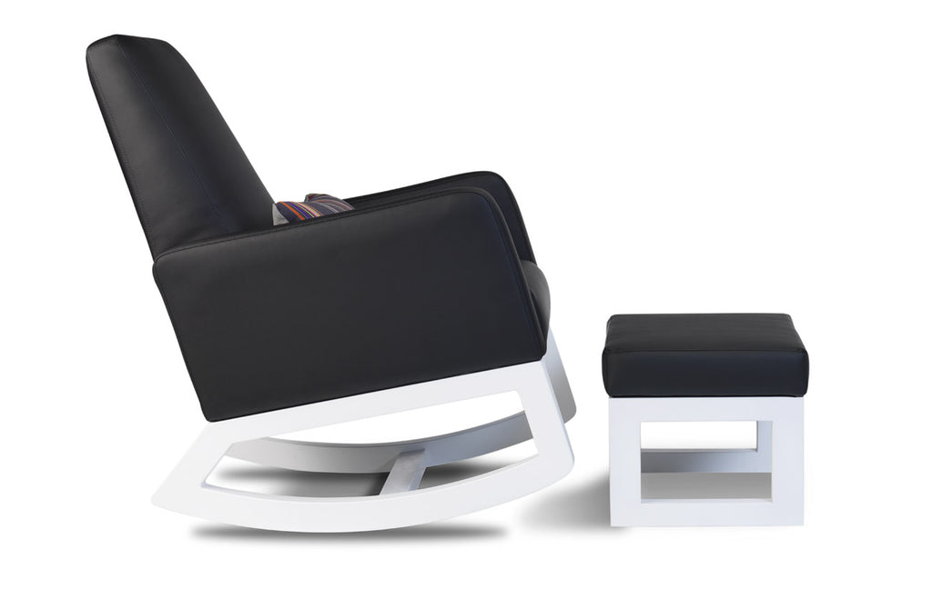 Modern Joya Rocker and Ottoman - black enviroleather and white base shown.